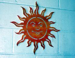 Metal sun image for wall art.